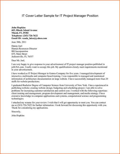 8 project manager cover letter budget template letter