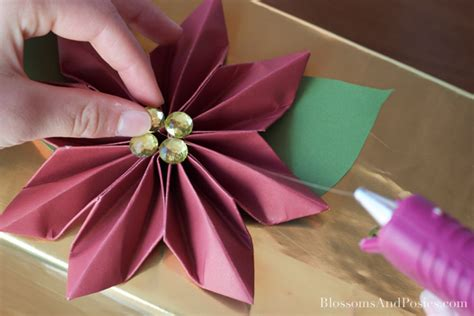 origami flower poinsettia origami poinsettia gift topper blossomsandposies