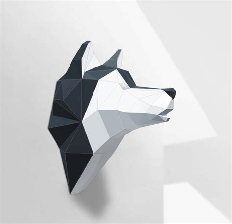 origami husky wolf sculpture husky papercraft make your own paper wolf