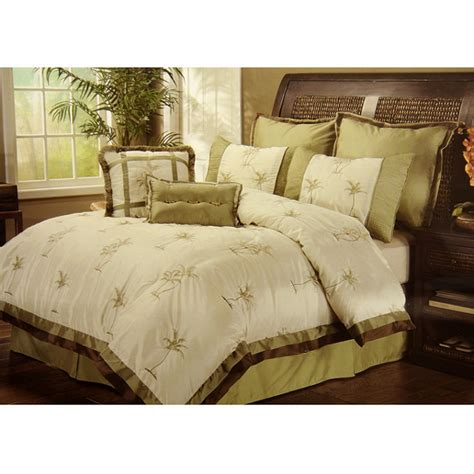 palm tree comforter set 8pc selma ivory palm tree embroidered faux silky tropical