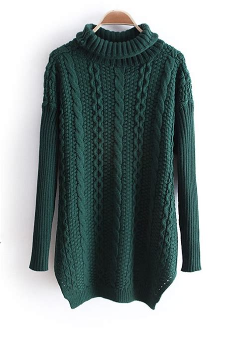 thick knit sweater green high neck sleeve thick knit sweater sweaters
