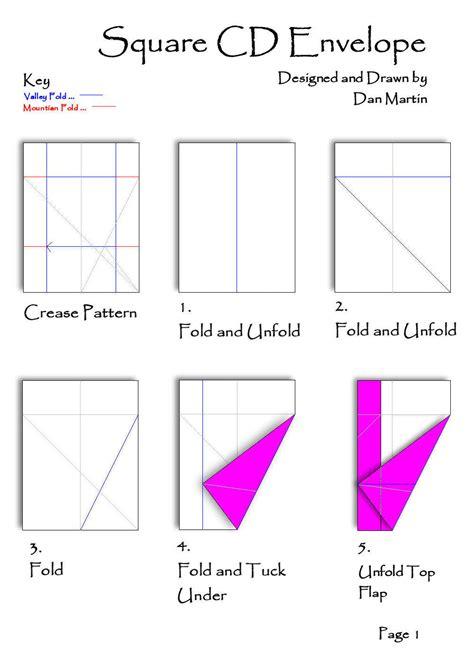 origami envelope pattern cd square envelope page