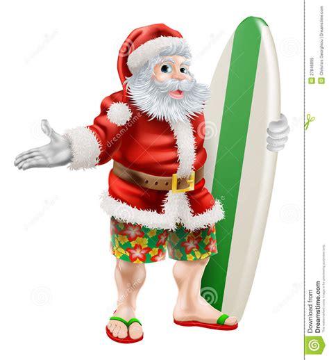 santa with surfboard surf santa stock vector image of board shorts australia