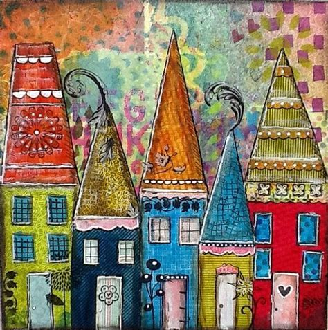 colorfu houses painting original mixed media collage artwork colorful blue