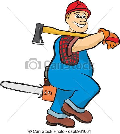 Chainsaw Artwork by Eps Vector Of Smiling Lumberjack In Working Clothes