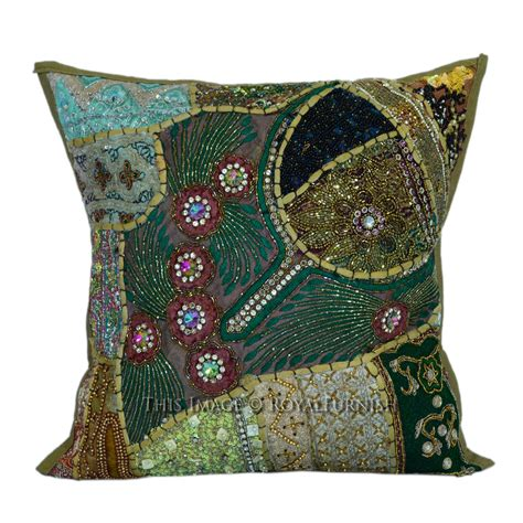 beaded decorative pillows 16x16 decorative handmade beaded sequin square pillow