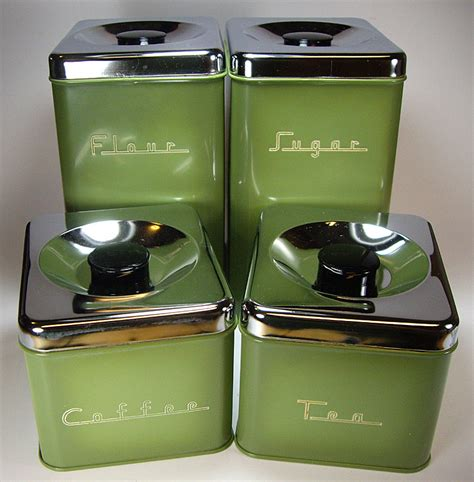 metal kitchen canister sets avocado green 70 s metal kitchen canister set by pantry