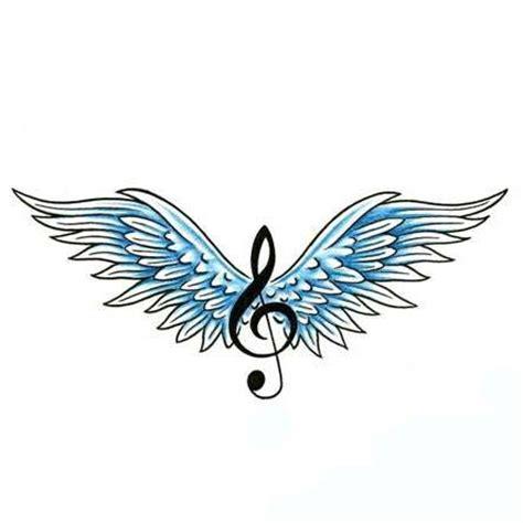 Treble Clef and Wings Tattoo Design   TattooWoo.com