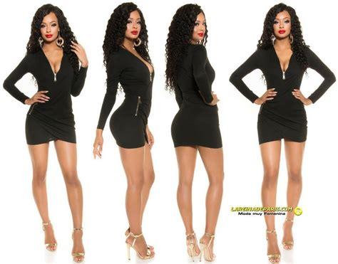 vestidos cortos negro comprar vestido negro entallado escote en v online