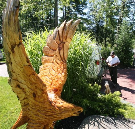 13 foot tree wood sculptor transforms 13 foot white pine tree stump