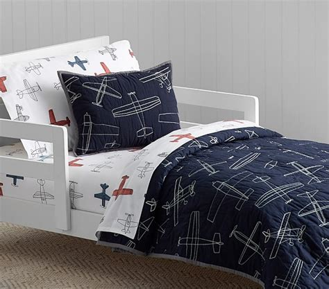 airplane bedding braden airplane quilted toddler bedding pottery barn