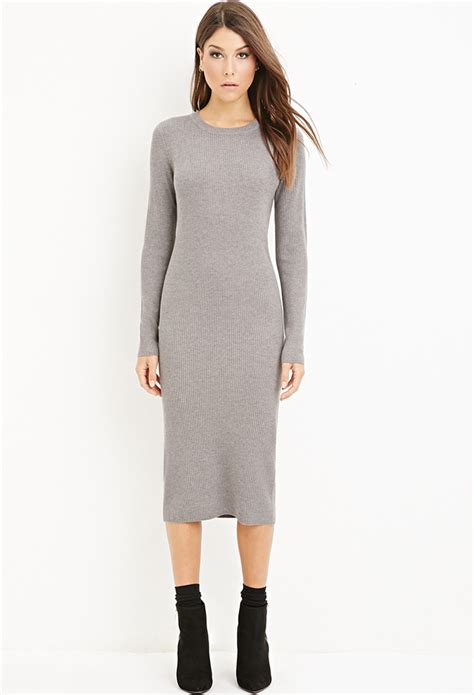 grey knit dress forever 21 ribbed knit midi dress in gray lyst