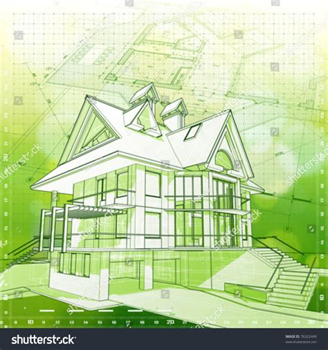 green architecture house plans ecology architecture design house plans green stock vector