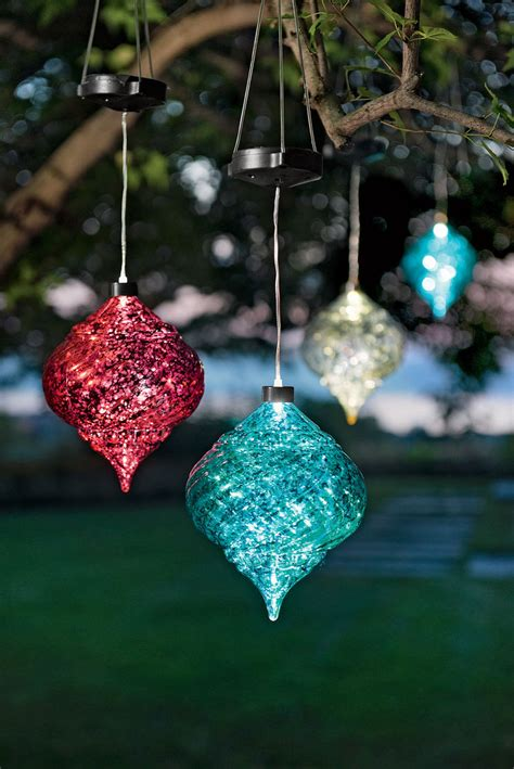 solar powered ornaments large outdoor ornaments hanging solar