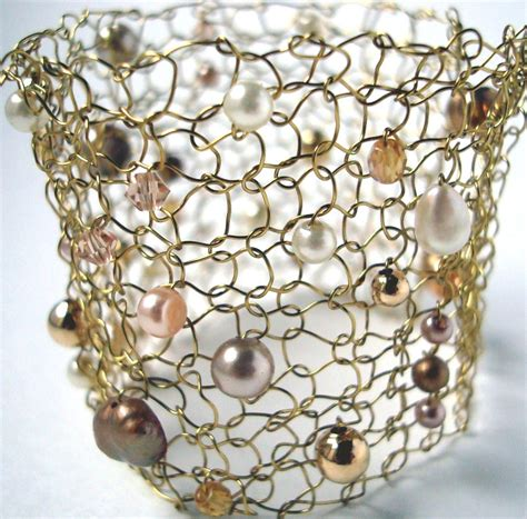 wire mesh for jewelry wide gold cuff bracelet wire knit jewelry pearl