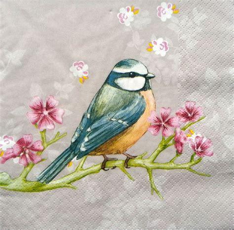 bird decoupage paper 4 x vintage table paper napkins craft sweet birds 1