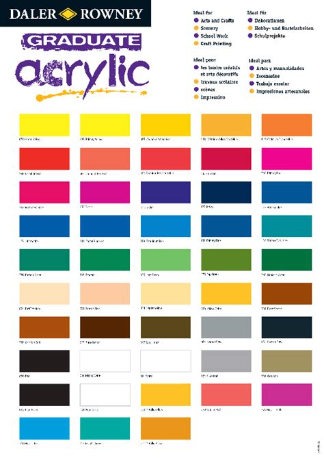 acrylic paint color chart color charts pigment information on colors and paints