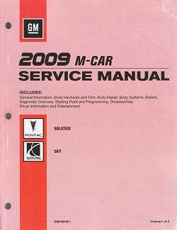 car repair manuals online pdf 2009 pontiac solstice engine control 2009 pontiac solstice saturn sky factory service manual