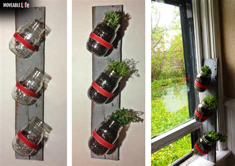 jar herb garden wall jar herb garden diy growing plant herb on the wall