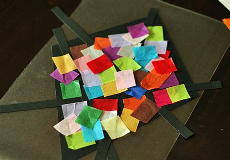 stained glass tissue paper craft colorful stained glass kites window display make and takes
