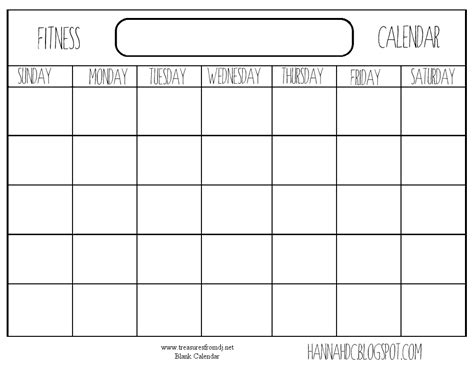 8 best images of printable blank workout calendar free