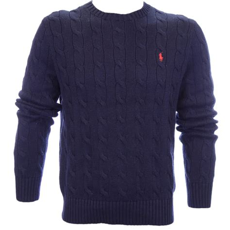 Polo Ralph Cable Knit Jumper Navy Polo Ralph