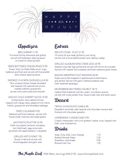 happy july 4th menu 4th of july menus