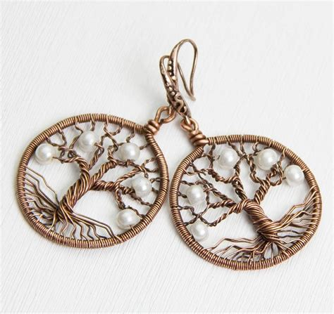 where to buy wire for jewelry tree of earrings 1 2 quot copper wire wrapped earrings
