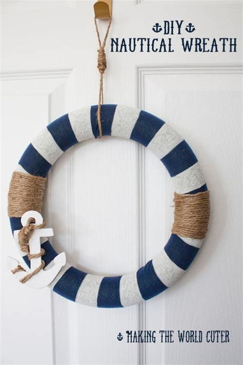 nautical craft projects nautical decor how to make this navy and white wreath