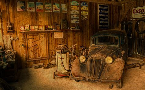Garage Shop Design Ideas vintage auto repair garage with truck and signs mixed