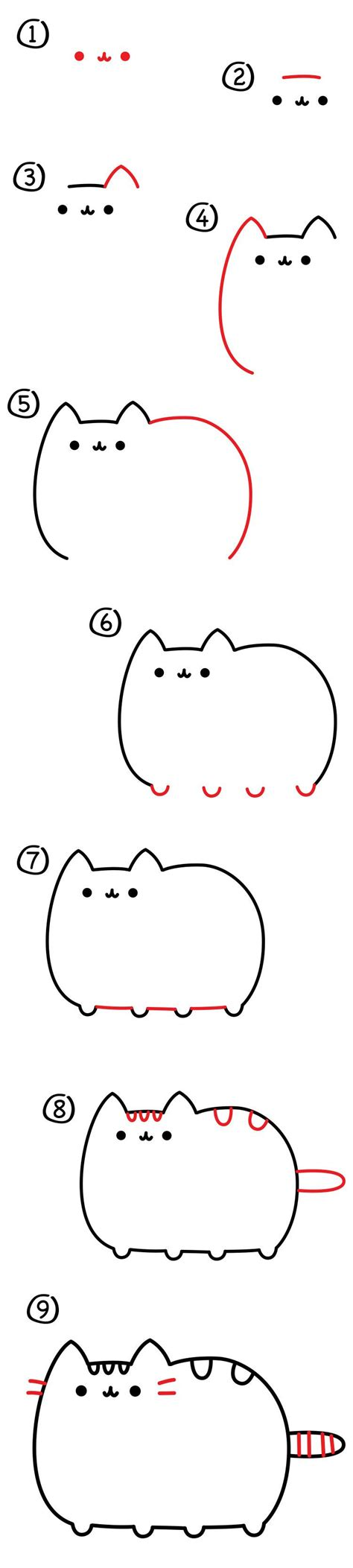 cat step step how to draw the pusheen cat for hub pusheen