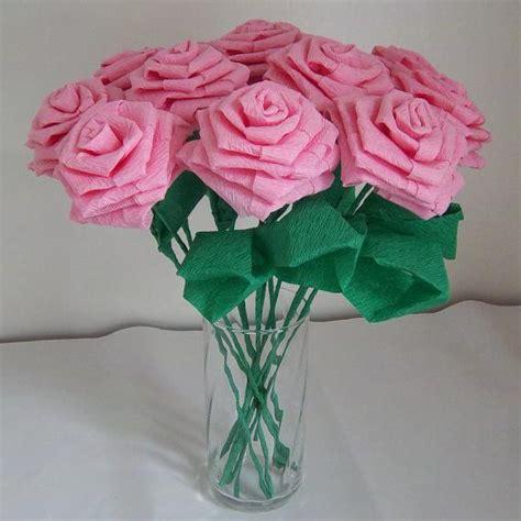 origami paper roses handmade origami crinkle paper roses 12 pink