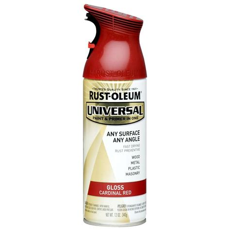 home depot spray paint and primer rust oleum universal 12 oz all surface gloss cardinal