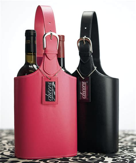 wine carrying leather faux leather 2 bottle wine caddy tote carry bag wedding gift ebay