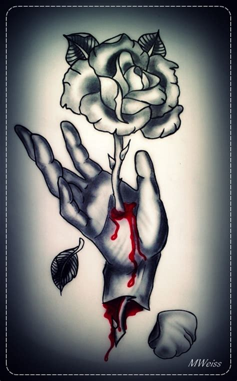 bleeding hand with rose tattoo flash by mweiss art on