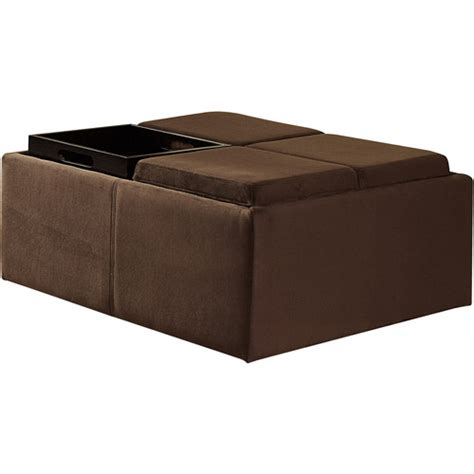 cocktail ottomans with storage cocktail storage ottoman with 4 trays walmart