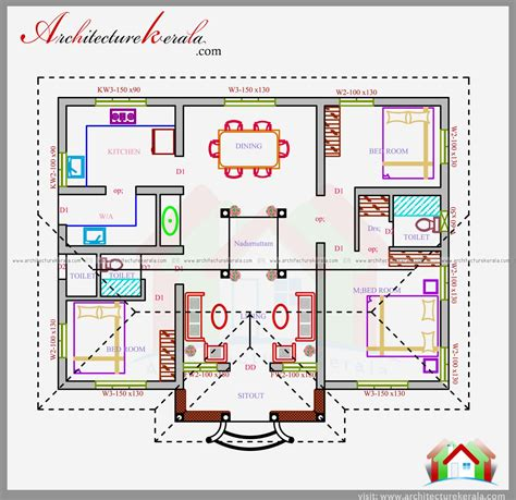 3 bedroom house plans in kerala three bedrooms in 1200 square kerala house plan
