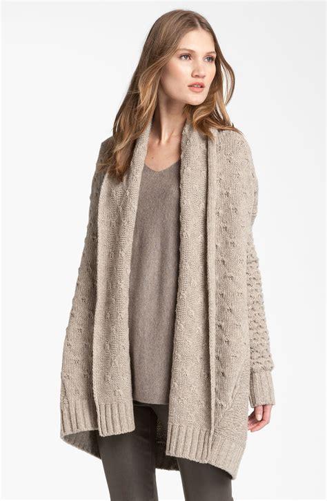 oversized knit cardigan vince mixed knit oversized cardigan in beige oatmeal lyst