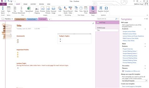 use onenote templates to streamline meeting class