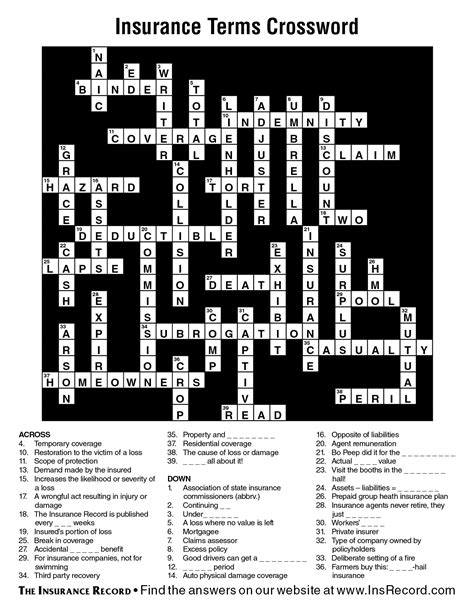 crossword clue insurance terms crossword answer key