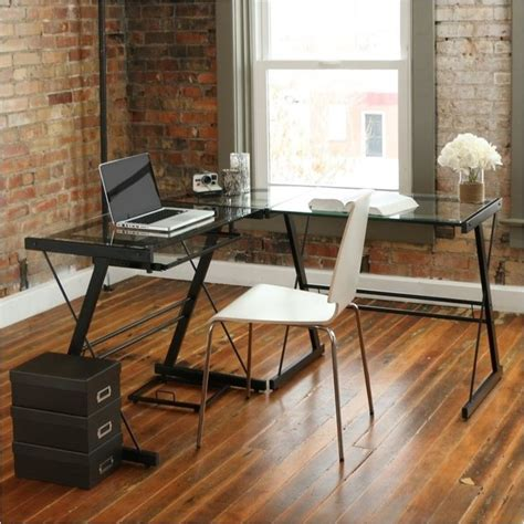 l shaped glass top computer desk pemberly row l shape glass top computer desk in black pr
