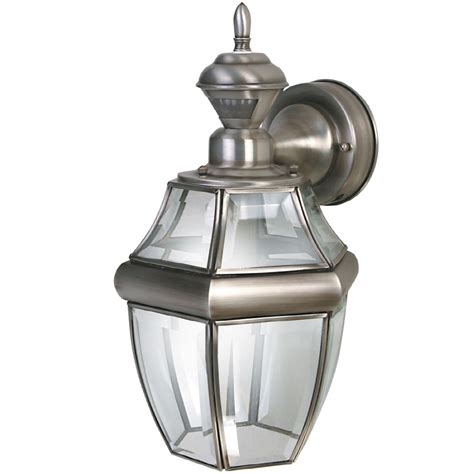 outdoor motion activated light shop secure home hanging carriage 14 5 in h antique silver