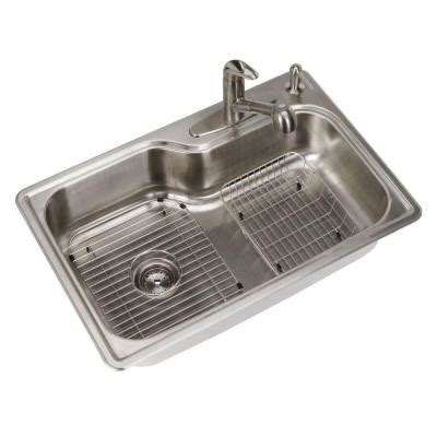 homedepot kitchen sinks glacier bay all in one top mount stainless steel 33 in 4