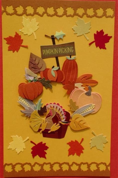 make thanksgiving cards thanksgiving wreath card think crafts by createforless