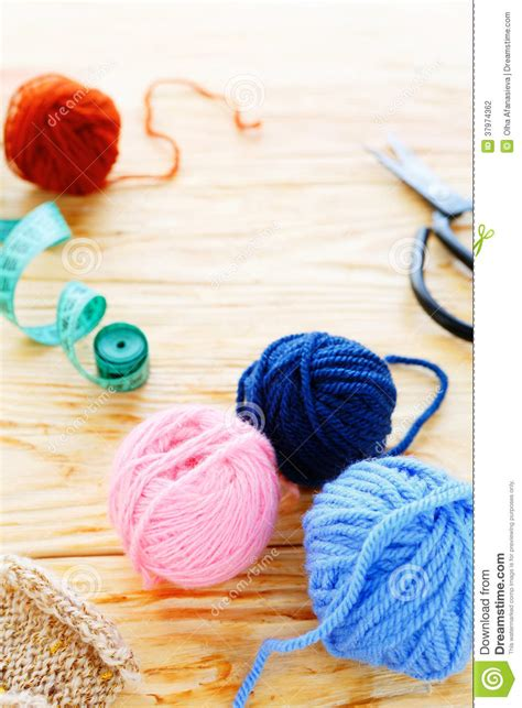knitting background knitting background yarn with accessories stock