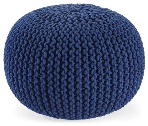 knitted poofs knitted pouf ottoman navy contemporary ottomans