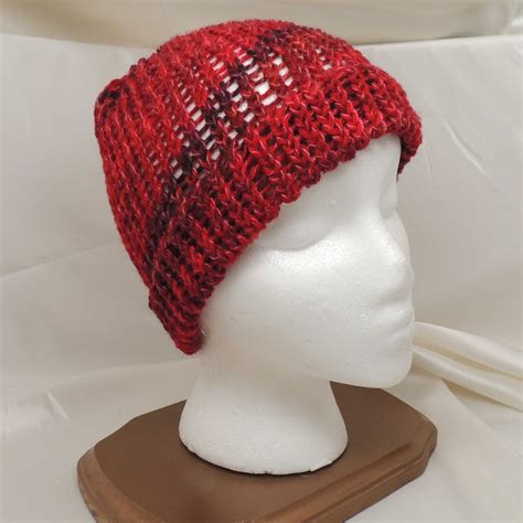 loom knitting hat brim wine size loom knit wool hat with brim