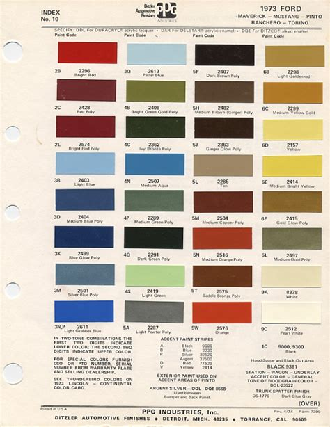 paint colors and codes 1973 mustang paint chip chart with mixing codes maine