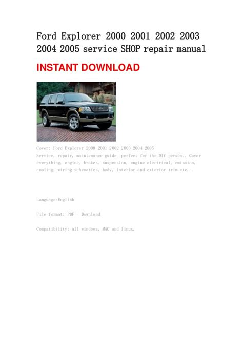 auto repair manual free download 2000 ford explorer sport parking system 2000 ford explorer workshop manual