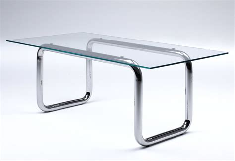 glass table glass table with pipe legs by living divani stylepark